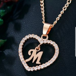 !Rose Gold Tone Letter M Heart diamond necklace